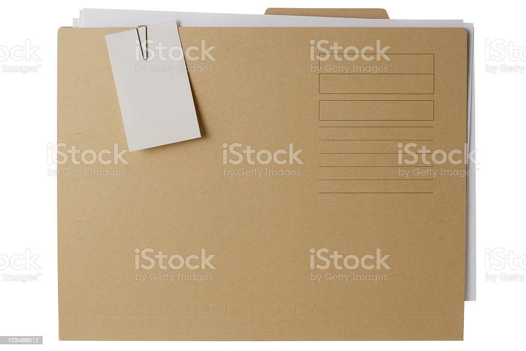 Isolated shot of file folder with documents on white background royalty-free stock photo