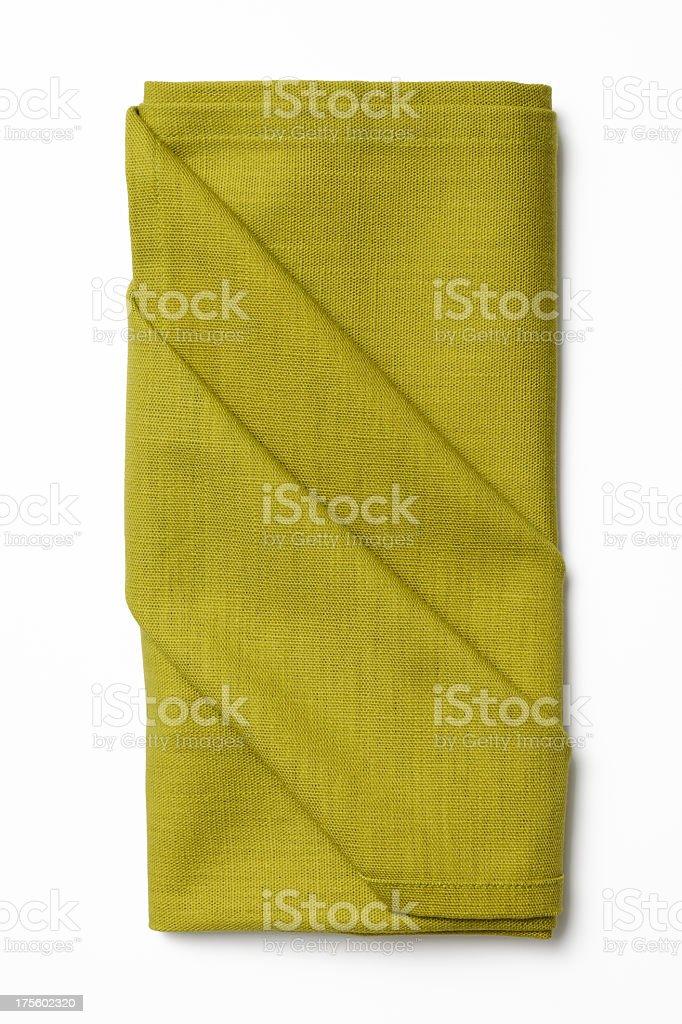 Isolated shot of folded green napkin on white background stock photo