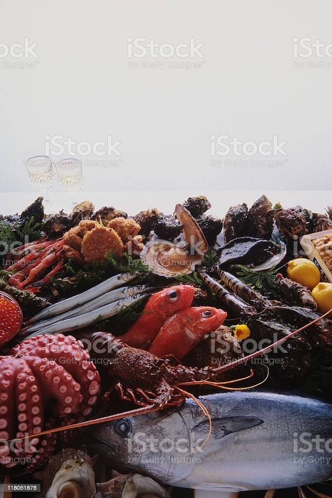 Isolated shot of fresh sea food against white background royalty-free stock photo
