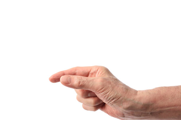 Isolated shot of hand of gesture to pick up on white background stock photo