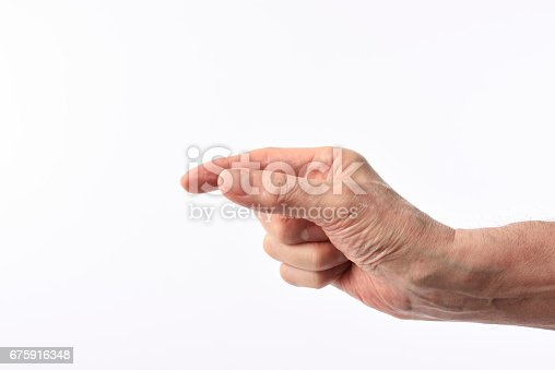 182925103 istock photo Isolated shot of hand of gesture to pick up on white background 675916348