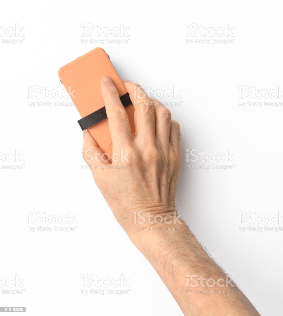 Isolated shot of hand with board eraser on white background stock photo