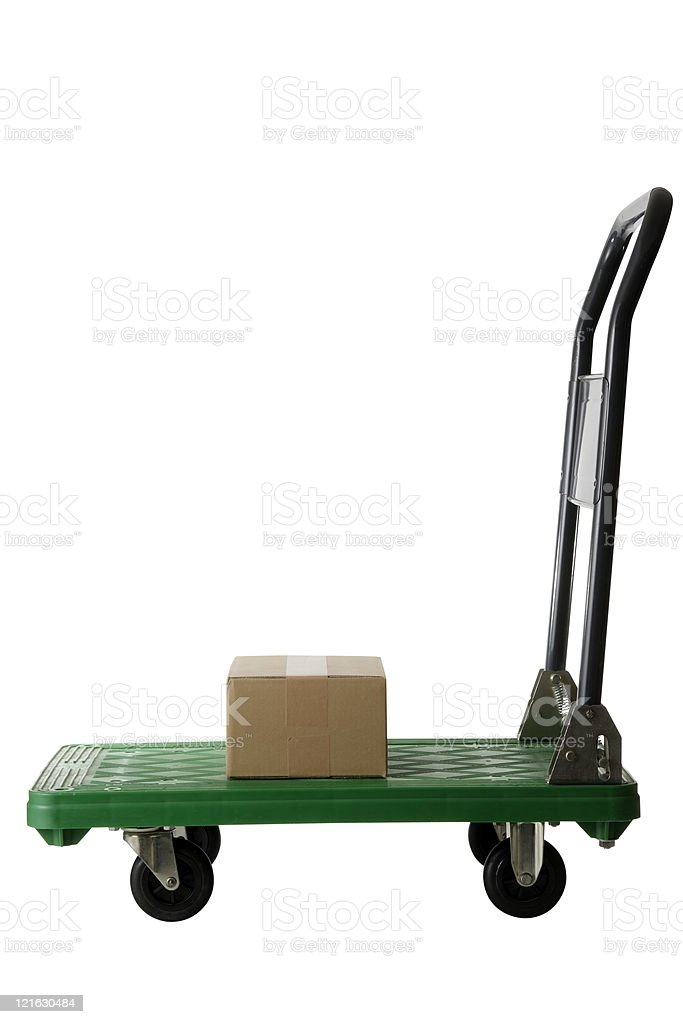 Isolated shot of handtruck with cardboard box on white background stock photo