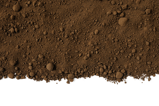 Humus soil isolated on white background with copy space.