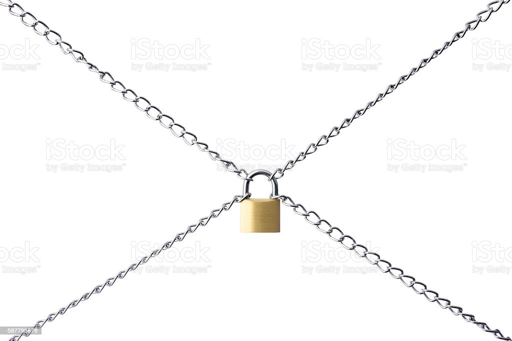 Isolated shot of locked padlock with chain on white background stock photo