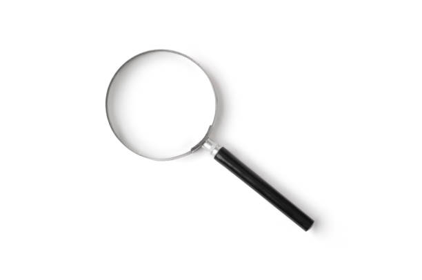 Isolated shot of magnifying glass on white background Glass - Material, Single Object, Chrome, Metal, Magnifying Glass magnifying glass stock pictures, royalty-free photos & images