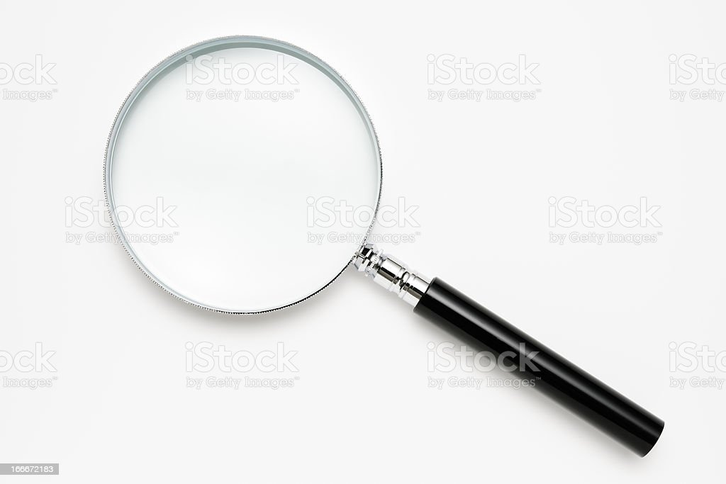 Isolated shot of magnifying glass on white background stock photo