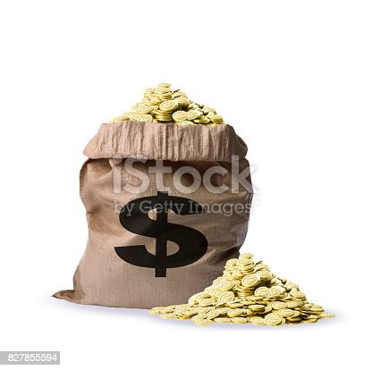 istock Isolated shot of money bag with lots of gold coins on white background 827855594