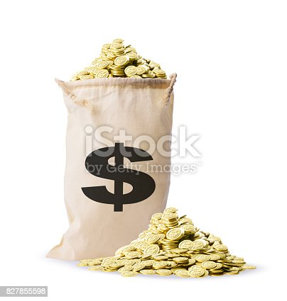 istock Isolated shot of money bag with lots of gold coins on white background 827855598