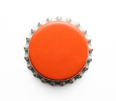 istock Isolated shot of old red metal bottle cap on white 483875651