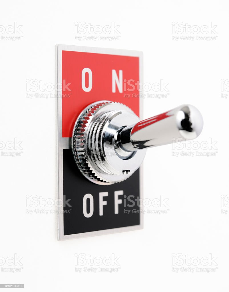 Isolated shot of ON OFF switch on white background stock photo