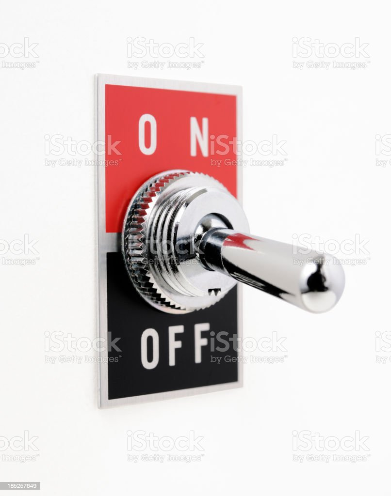 Isolated shot of ON OFF switch on white background royalty-free stock photo