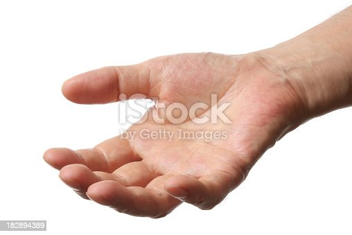 182925103 istock photo Isolated shot of open hand against white background 182894389