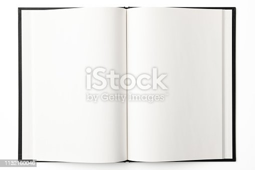 Overhead shot of opened blank book, isolated on white with clipping path.