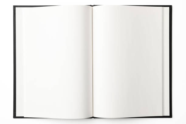 Isolated shot of opened blank book on white background Overhead shot of opened blank book, isolated on white with clipping path. hardcover book stock pictures, royalty-free photos & images