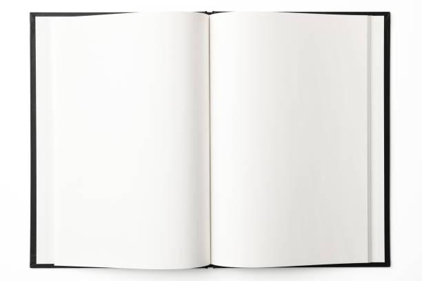 在白色背景打開的空白書的被隔絕的射擊 - book open 個照片及圖片檔