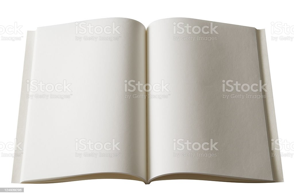 Isolated shot of opened blank book on white background royalty-free stock photo