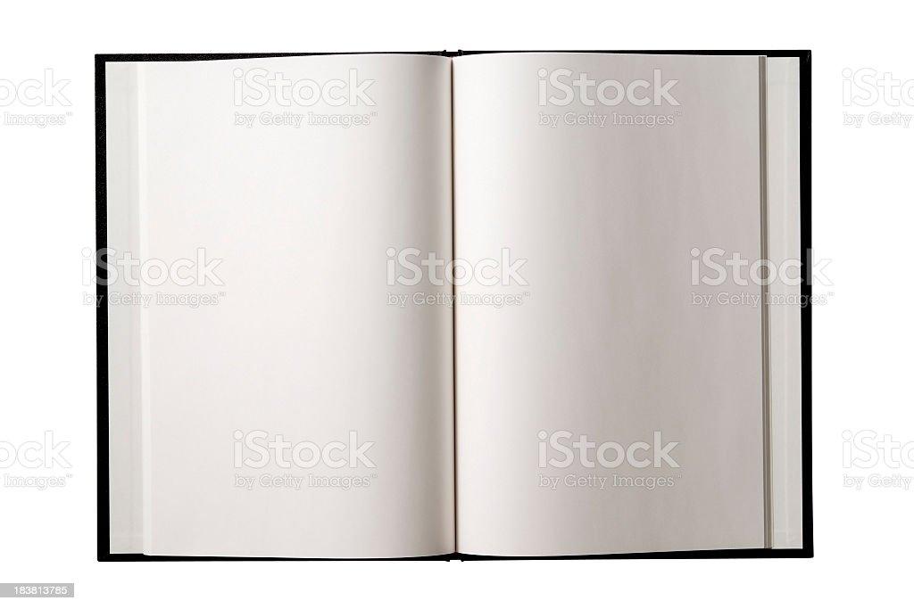 Isolated shot of opened blank book on white background stock photo