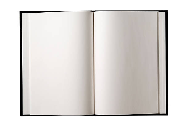 isolated shot of opened blank book on white background - hardcover book stock pictures, royalty-free photos & images