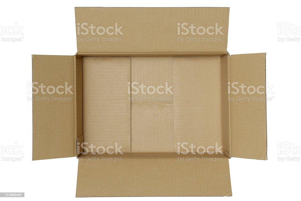 Isolated shot of opened blank cardboard box on white background stock photo