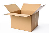 Isolated shot of opened blank cardboard box on white background