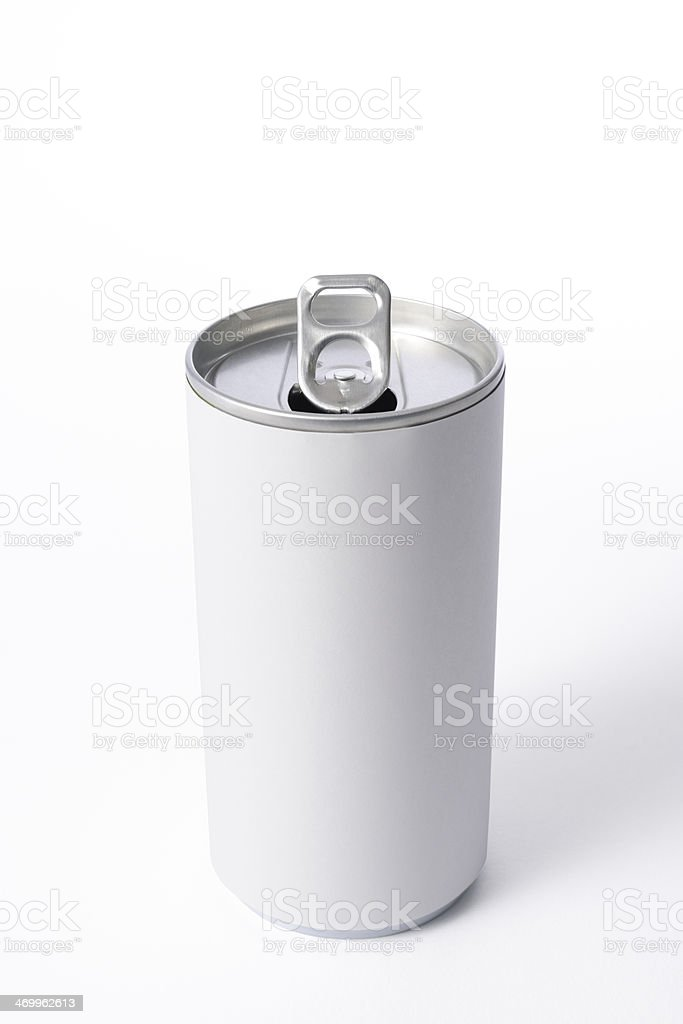 Isolated shot of opened blank drink can on white background royalty-free stock photo