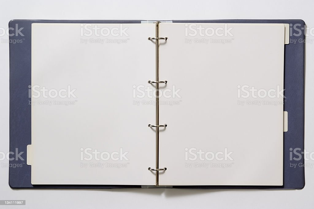 Isolated shot of opened blank ring binder on white background stock photo