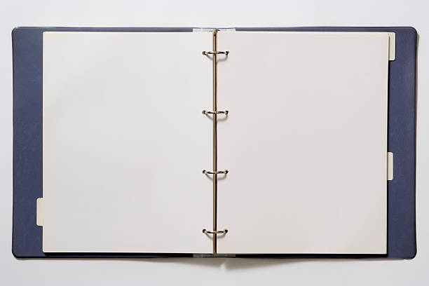 isolated shot of opened blank ring binder on white background - file stock pictures, royalty-free photos & images