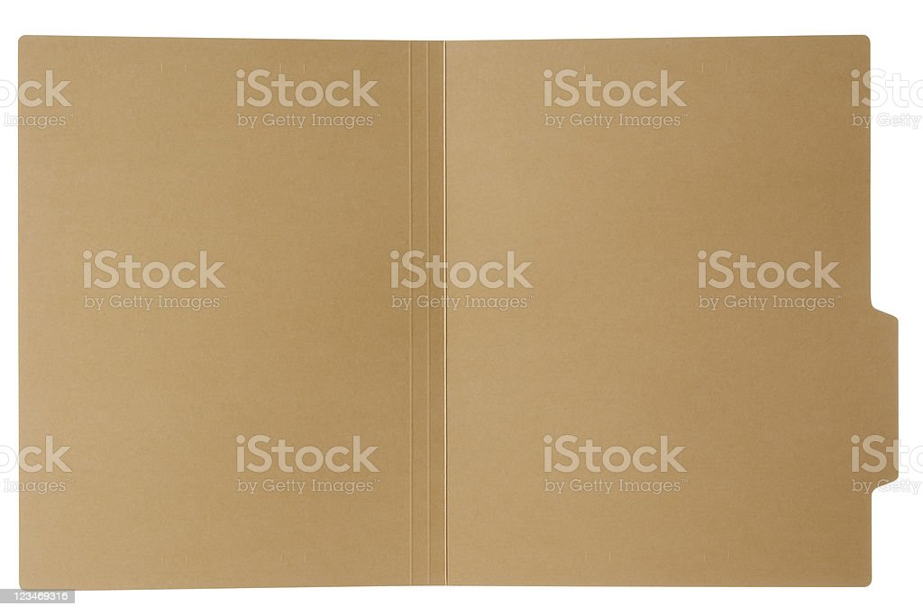 Isolated shot of opened file folder on white background stock photo