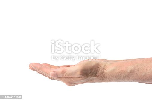 182925103 istock photo Isolated shot of opened palm up hands gesture against white background 1150644398