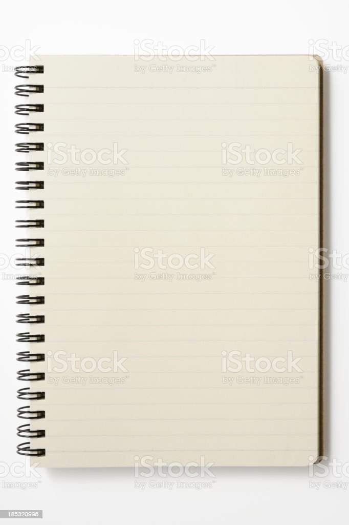 Isolated shot of opened spiral notebook on white background stock photo