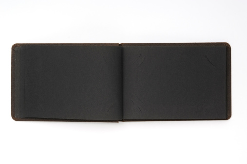 Opened blank black vintage card album isolated on white background.