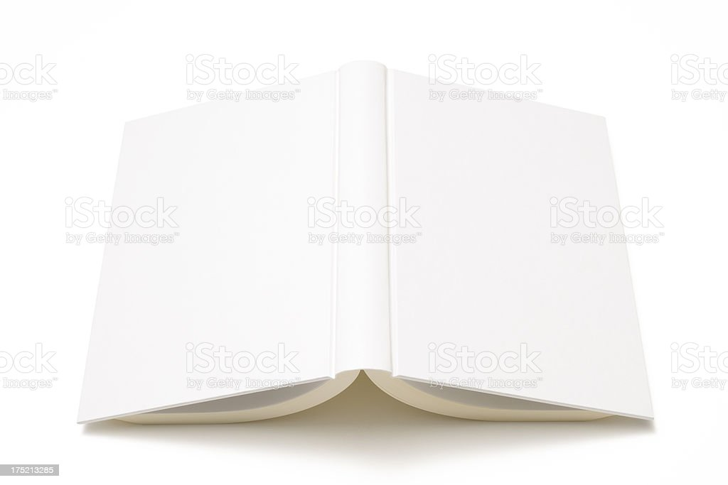 Isolated shot of opened white blank book on white background royalty-free stock photo