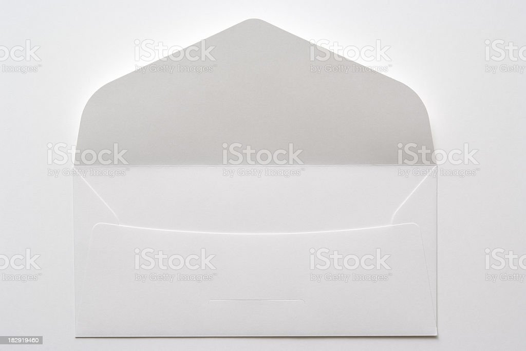Isolated shot of opened white envelope on white background stock photo