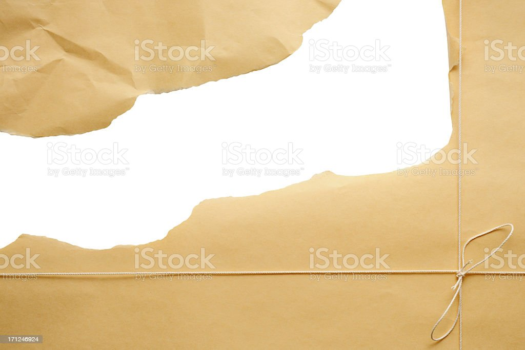 Isolated shot of opening parcel on white background royalty-free stock photo
