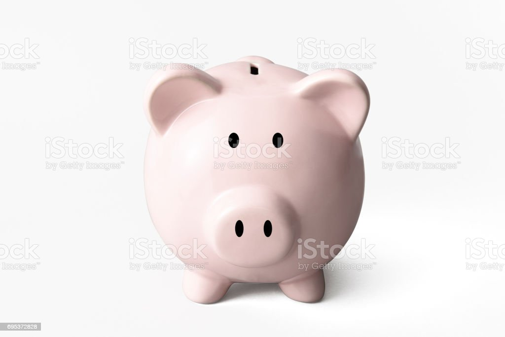 Isolated shot of piggy bank on white background stock photo