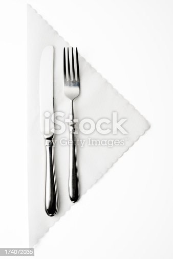 Silver knife and fork on white paper napkin isolated on white background with clipping path.