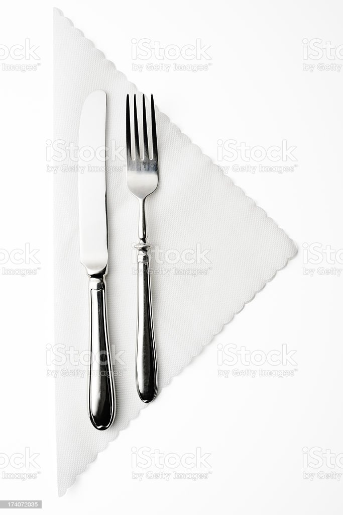 Isolated shot of place setting on white background stock photo