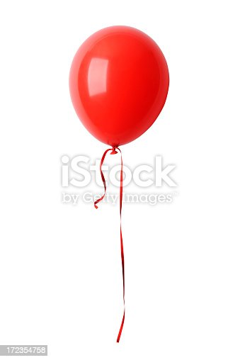 Shiny red balloon with ribbon isolated on white background with clipping path.