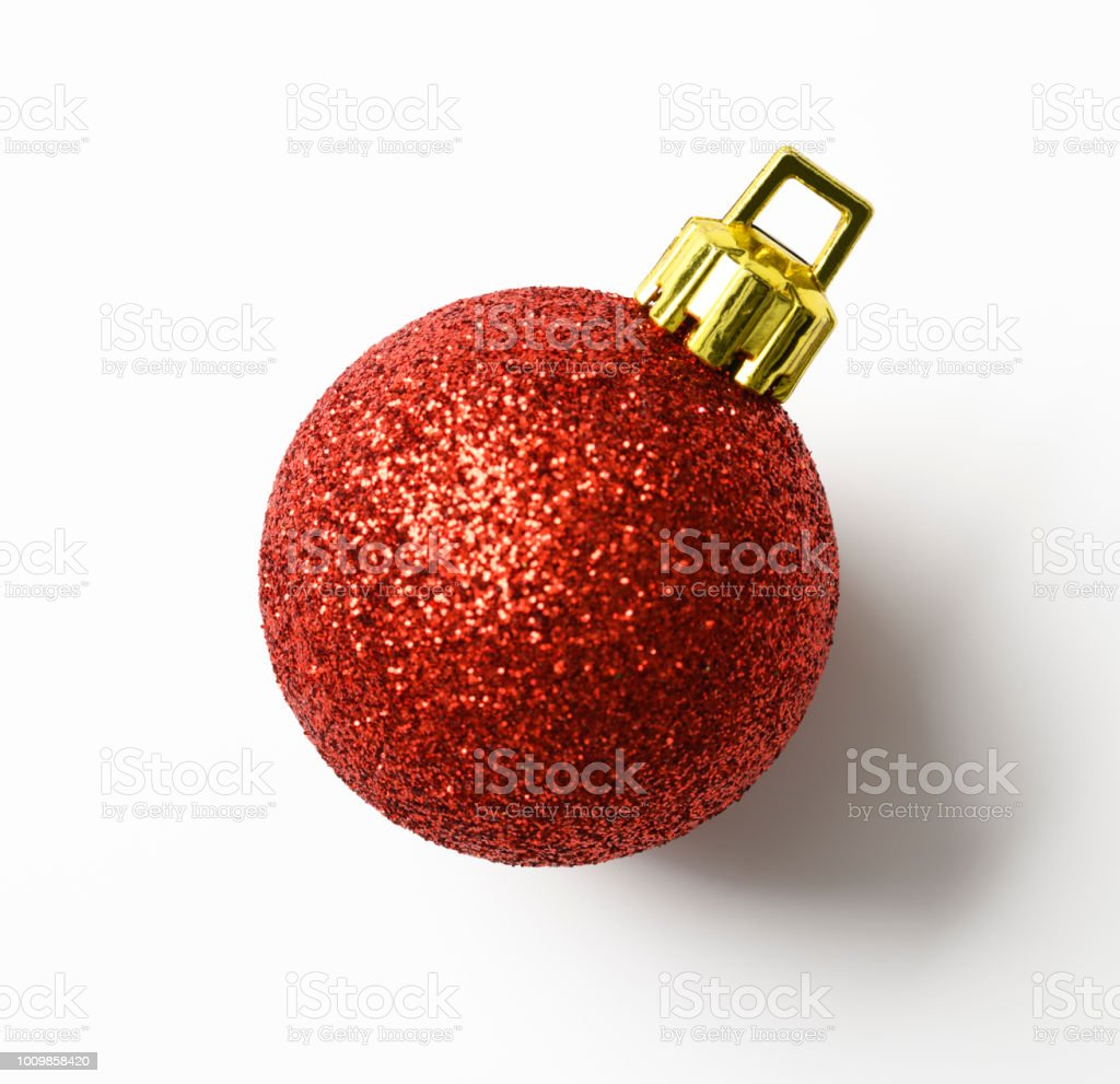 Isolated shot of red Christmas ball on white background royalty-free stock photo