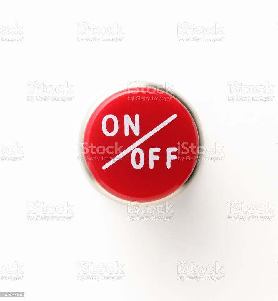 Isolated shot of red circle switch on white background stock photo