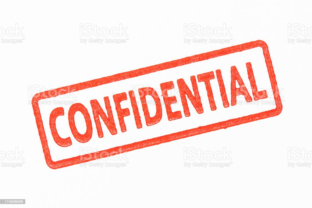 Isolated shot of red CONFIDENTIAL rubber stamp on white background stock photo