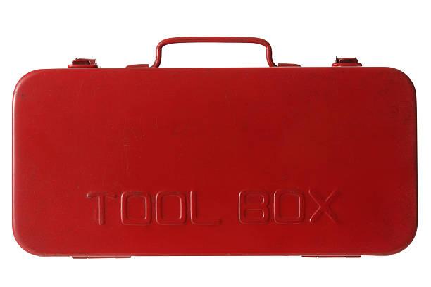 isolierte schuss von red-toolbox auf weißem hintergrund - rostrot stock-fotos und bilder