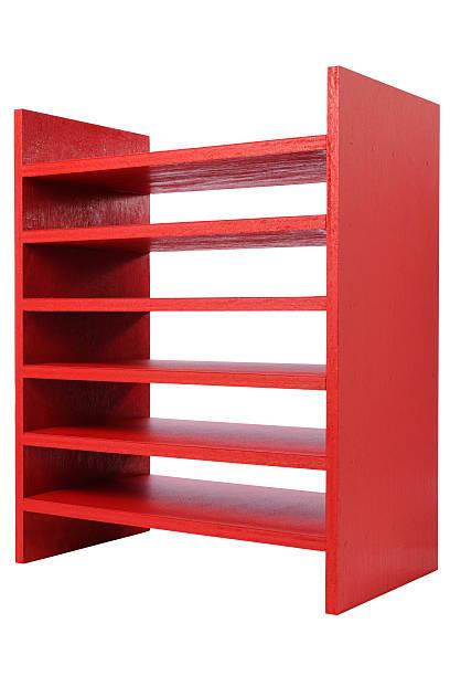 isolierte schuss von rote holz regal auf weißem hintergrund - vitrinenschrank stock-fotos und bilder