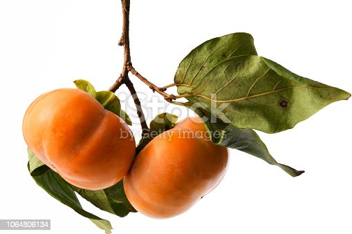 Close-up of Ripe Persimmon with leaf isolated on white with clipping path.