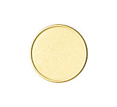 Overhead of shining blank gold coin isolated on white with clipping path.