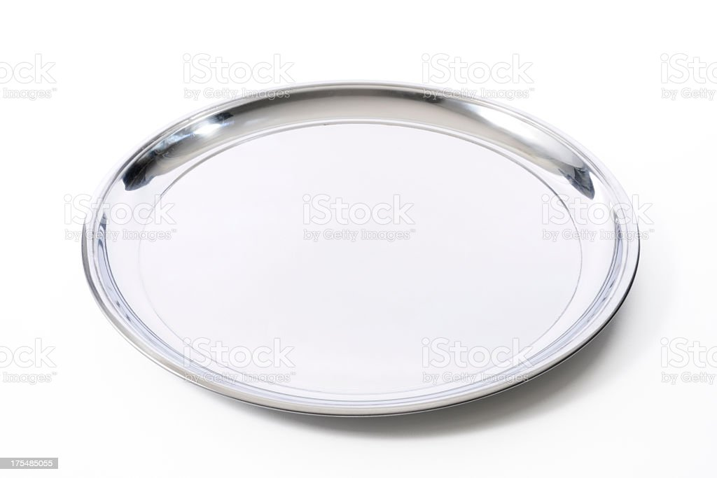 Isolated shot of silver tray on white background stock photo