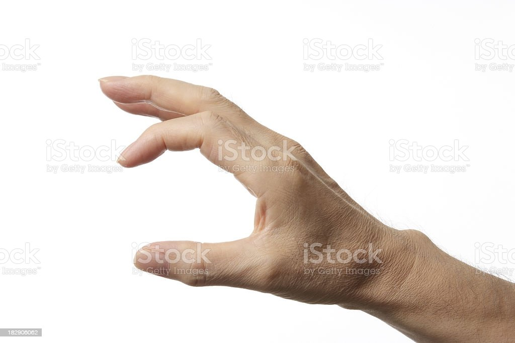 Isolated shot of small hand sign on white background stock photo