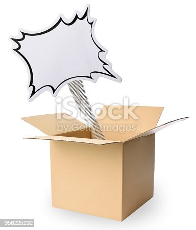 Blank speech bubble jumping out from a cardboard box, isolated on white.