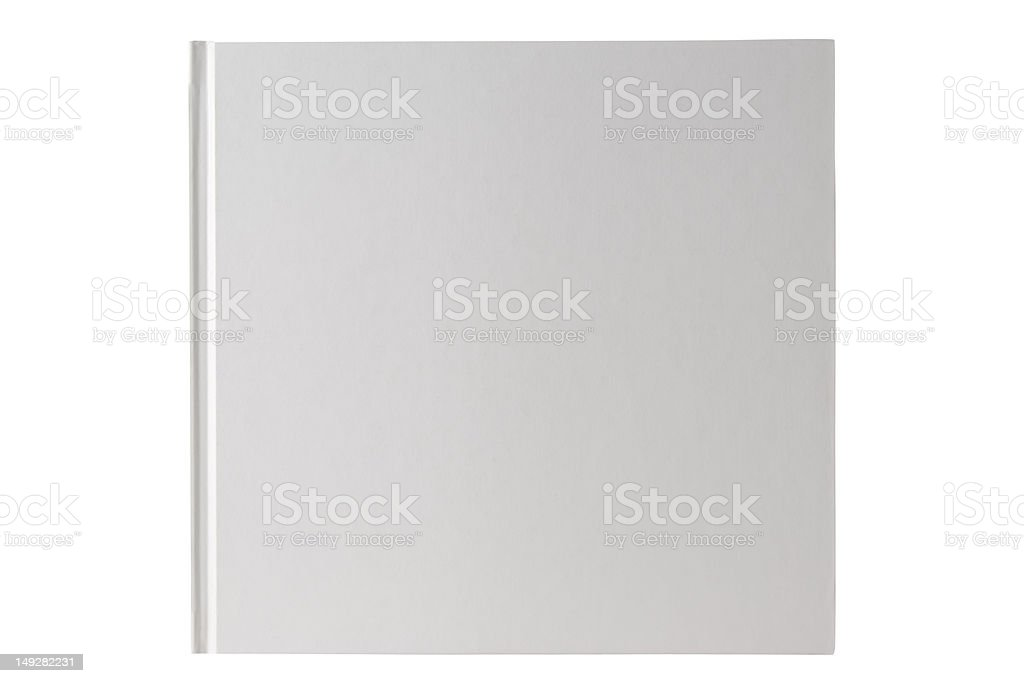 Isolated shot of square white blank book on white background stock photo